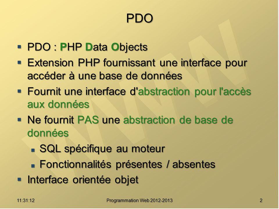 1311:32:56 Programmation Web 2012-2013 Exécution d une requête PDOStatement PDO::query ( string statement ) PDOStatement PDO::query ( string statement )<?php try { try { $pdo = new PDO( mysql:host=localhost ) ; $pdo = new PDO( mysql:host=localhost ) ; $pdostat = $pdo->query( SELECT * FROM clients ) ; $pdostat = $pdo->query( SELECT * FROM clients ) ; } catch (Exception $e) { catch (Exception $e) { echo ERREUR : .$e->getMessage() ; echo ERREUR : .$e->getMessage() ; }?> Requête Résultat de requête