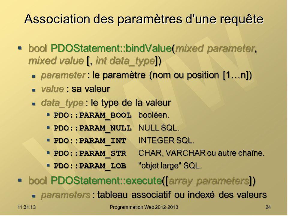 2411:32:56 Programmation Web 2012-2013 Association des paramètres d'une requête bool PDOStatement::bindValue(mixed parameter, mixed value [, int data_