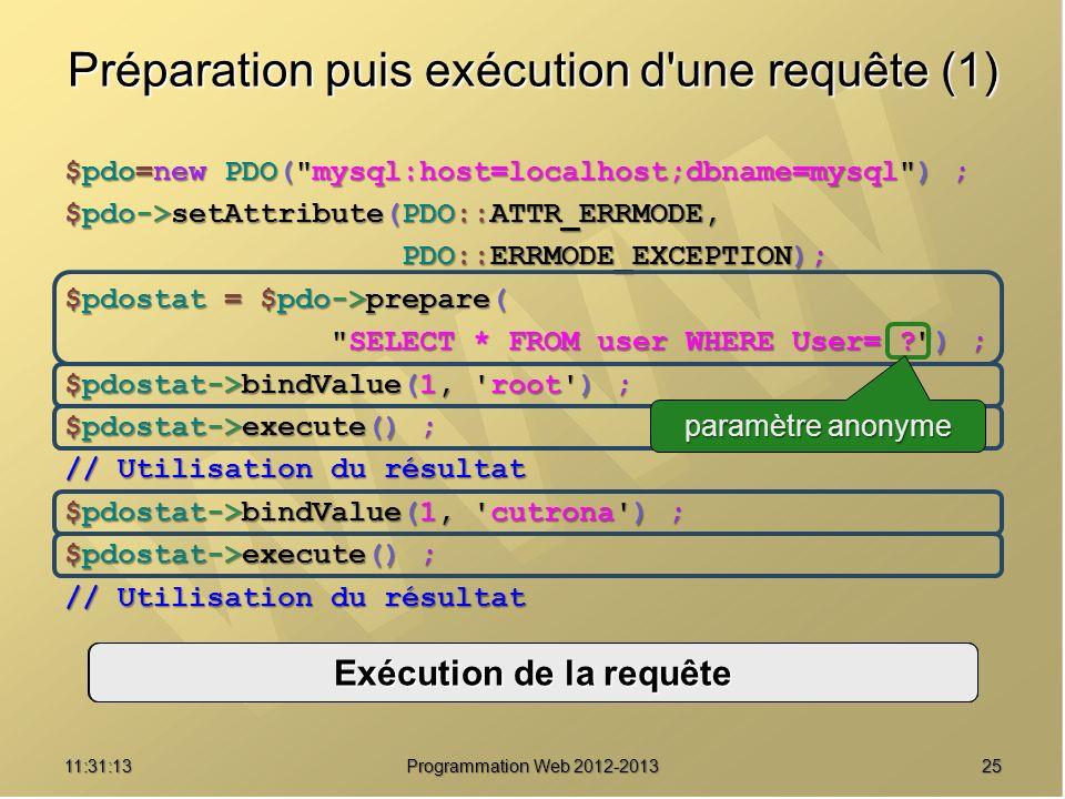 2511:32:56 Programmation Web 2012-2013 Préparation puis exécution d'une requête (1) $pdo=new PDO(