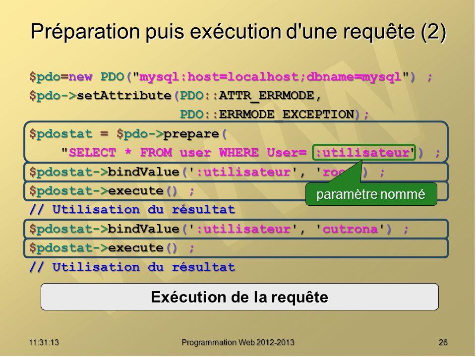 2611:32:56 Programmation Web 2012-2013 Préparation puis exécution d'une requête (2) $pdo=new PDO(