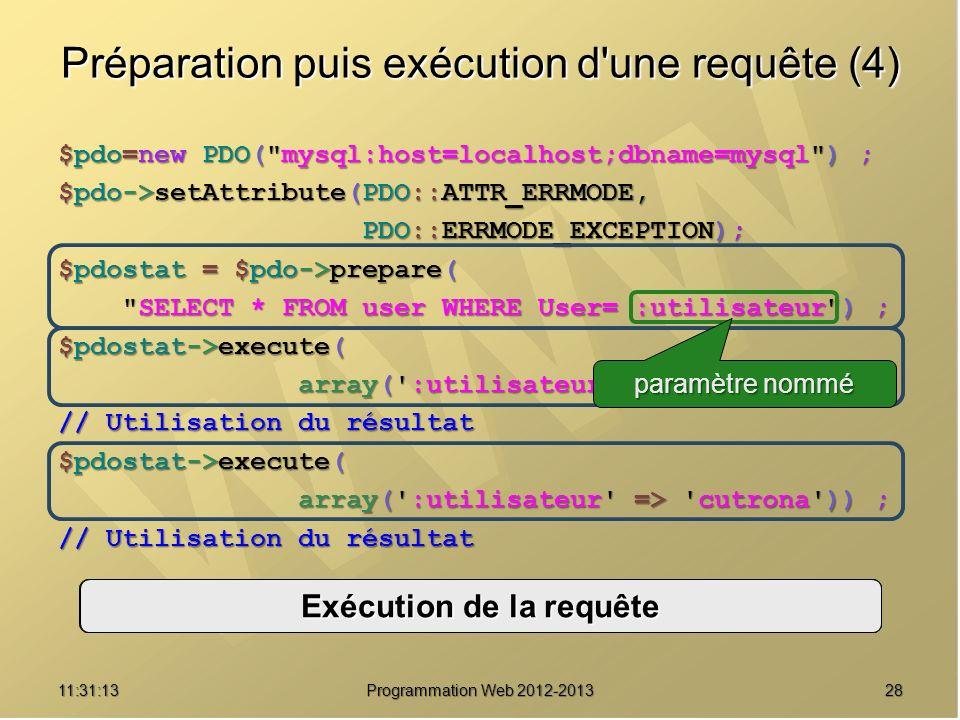 2811:32:56 Programmation Web 2012-2013 Préparation puis exécution d'une requête (4) $pdo=new PDO(