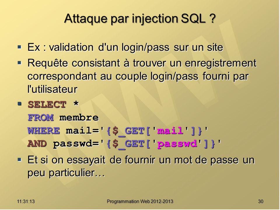 3011:32:56 Programmation Web 2012-2013 Attaque par injection SQL ? Ex : validation d'un login/pass sur un site Ex : validation d'un login/pass sur un
