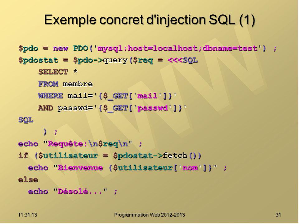 3111:32:56 Programmation Web 2012-2013 Exemple concret d'injection SQL (1) $pdo = new PDO('mysql:host=localhost;dbname=test') ; $pdostat = $pdo->query