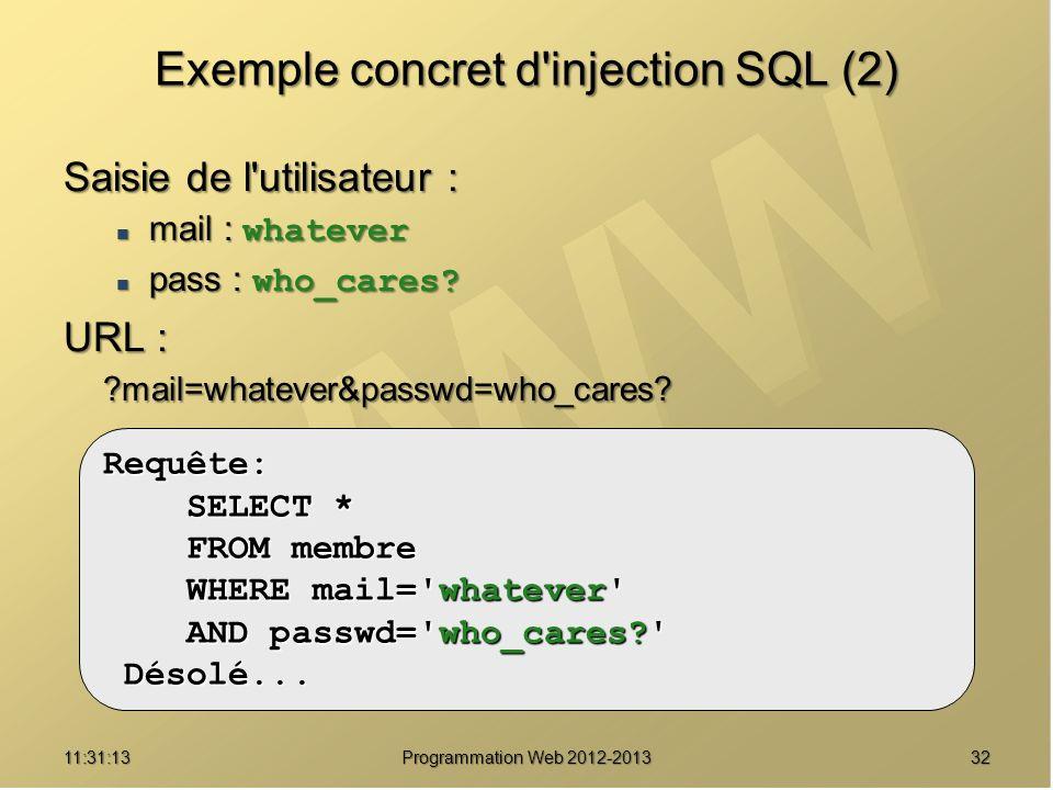 3211:32:56 Programmation Web 2012-2013 Exemple concret d'injection SQL (2) Saisie de l'utilisateur : mail : whatever mail : whatever pass : who_cares?