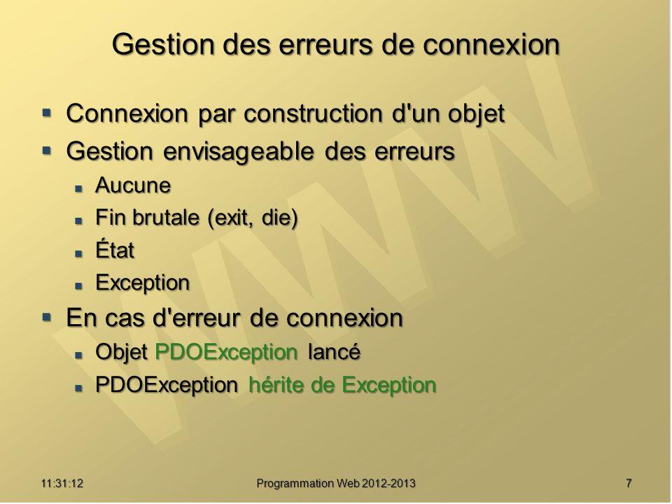 2811:32:56 Programmation Web 2012-2013 Préparation puis exécution d une requête (4) $pdo=new PDO( mysql:host=localhost;dbname=mysql ) ; $pdo->setAttribute(PDO::ATTR_ERRMODE, PDO::ERRMODE_EXCEPTION); PDO::ERRMODE_EXCEPTION); $pdostat = $pdo->prepare( SELECT * FROM user WHERE User= :utilisateur ) ; SELECT * FROM user WHERE User= :utilisateur ) ; $pdostat->execute( array( :utilisateur => root )) ; array( :utilisateur => root )) ; // Utilisation du résultat $pdostat->execute( array( :utilisateur => cutrona )) ; array( :utilisateur => cutrona )) ; // Utilisation du résultat Préparation de la requête Association d une valeur au paramètre nommé Exécution de la requête Association d une valeur au paramètre nommé Exécution de la requête paramètre nommé