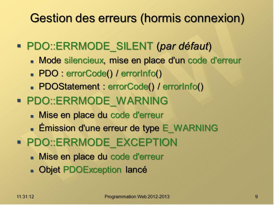 1011:32:56 Programmation Web 2012-2013 Gestion des erreurs (hormis connexion) <?php try { $dbh = new PDO( mysql:host=h;dbname=db , $dbh = new PDO( mysql:host=h;dbname=db , $user, $pass) ; $user, $pass) ; $dbh->setAttribute(PDO::ATTR_ERRMODE, $dbh->setAttribute(PDO::ATTR_ERRMODE, PDO::ERRMODE_EXCEPTION); PDO::ERRMODE_EXCEPTION); … $dbh = null ; $dbh = null ;} catch (PDOException $e) { echo Erreur: .$e->getMessage(). ; echo Erreur: .$e->getMessage(). ; die() ; die() ;}?>