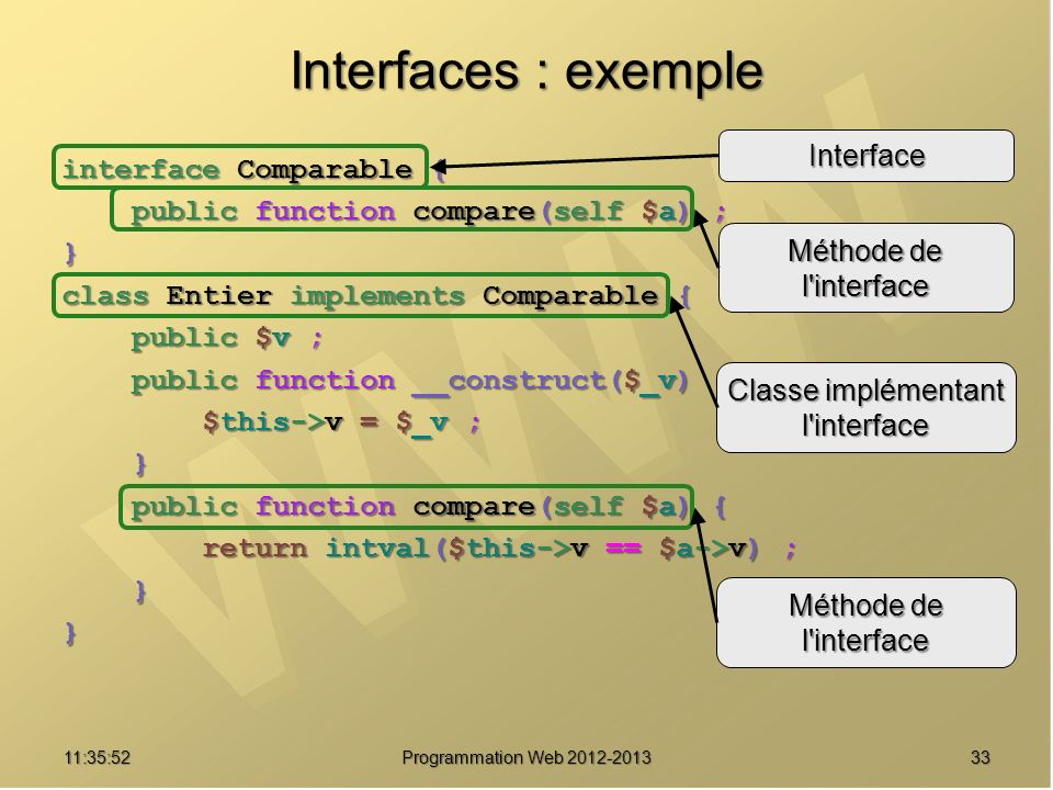 3311:37:32 Programmation Web 2012-2013 Interfaces : exemple interface Comparable { public function compare(self $a) ; public function compare(self $a) ;} class Entier implements Comparable { public $v ; public $v ; public function __construct($_v) { public function __construct($_v) { $this->v = $_v ; $this->v = $_v ; } } public function compare(self $a) { public function compare(self $a) { return intval($this->v == $a->v) ; return intval($this->v == $a->v) ; }} Interface Méthode de l interface Classe implémentant l interface Méthode de l interface