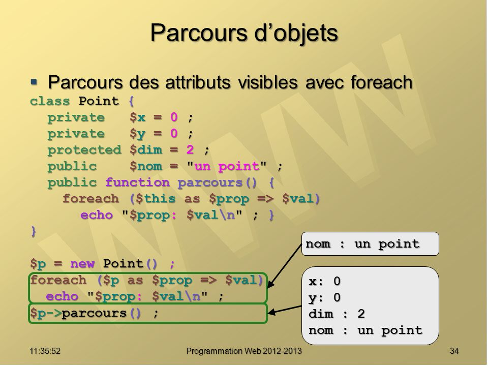 Parcours dobjets Parcours des attributs visibles avec foreach Parcours des attributs visibles avec foreach class Point { private $x = 0 ; private $y = 0 ; protected $dim = 2 ; public $nom = un point ; public function parcours() { foreach ($this as $prop => $val) foreach ($this as $prop => $val) echo $prop: $val\n ; } echo $prop: $val\n ; }} $p = new Point() ; foreach ($p as $prop => $val) echo $prop: $val\n ; echo $prop: $val\n ; $p->parcours() ; 3411:37:32 Programmation Web 2012-2013 nom : un point x: 0 y: 0 dim : 2 nom : un point