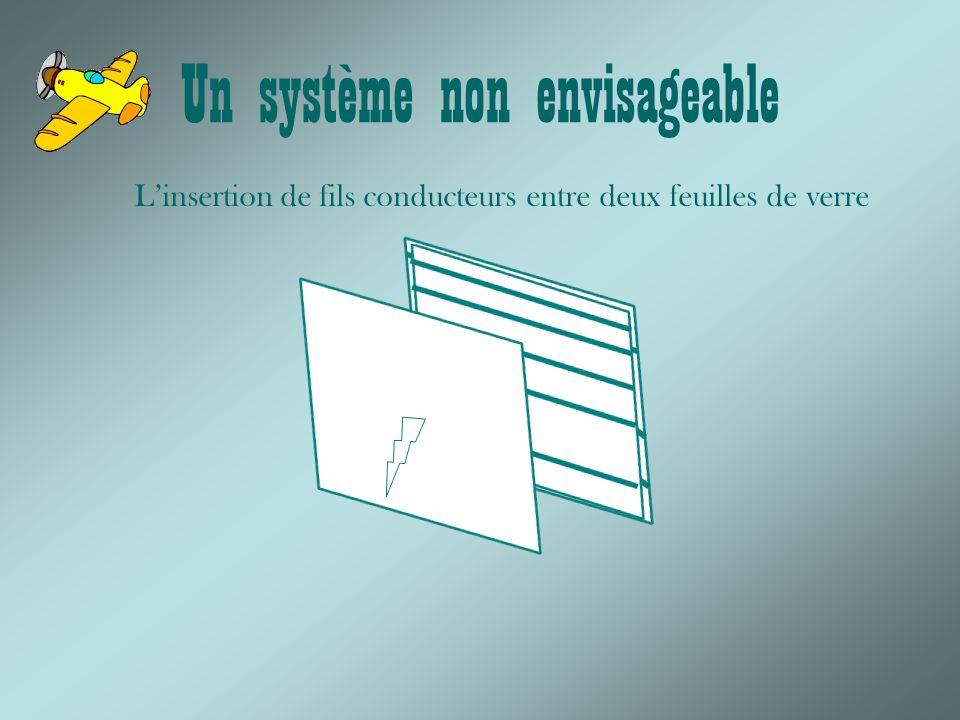Un système non envisageable Linsertion de fils conducteurs entre deux feuilles de verre
