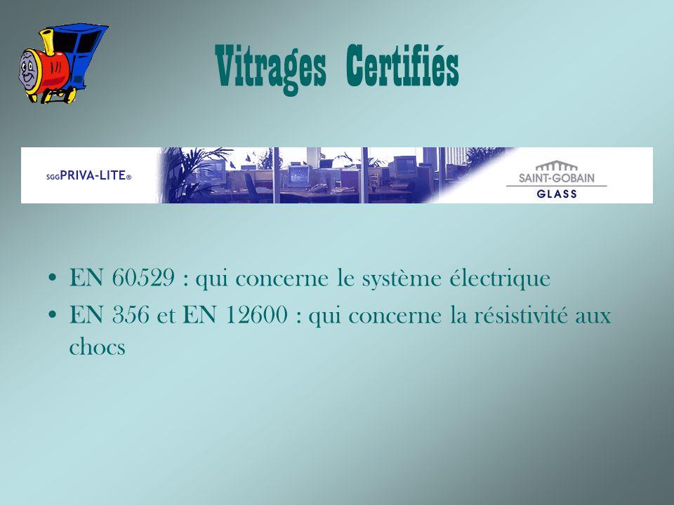 Vitrages Certifiés EN 60529 : qui concerne le système électrique EN 356 et EN 12600 : qui concerne la résistivité aux chocs