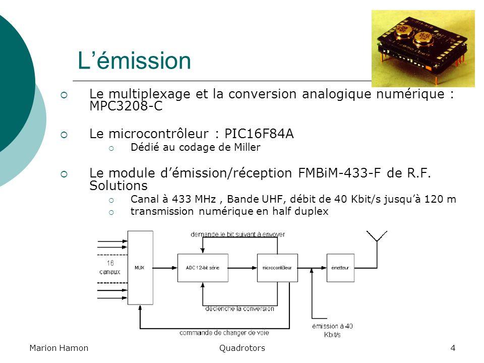 Marion HamonQuadrotors4 Lémission Le multiplexage et la conversion analogique numérique : MPC3208-C Le microcontrôleur : PIC16F84A Dédié au codage de