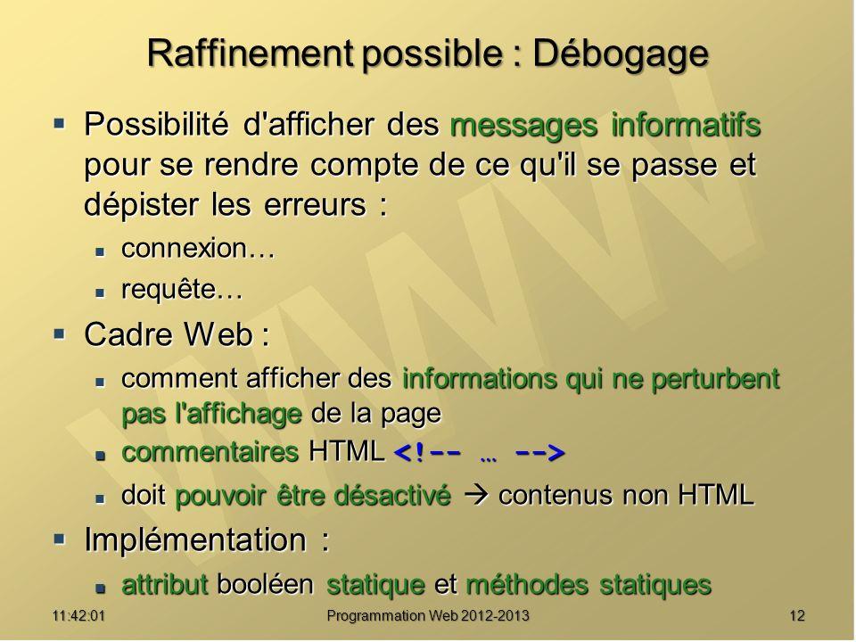 1211:43:39 Programmation Web 2012-2013 Raffinement possible : Débogage Possibilité d'afficher des messages informatifs pour se rendre compte de ce qu'