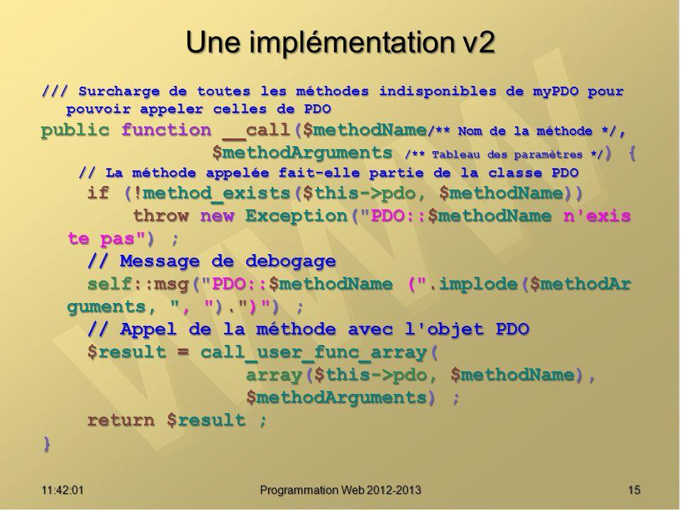1511:43:39 Programmation Web 2012-2013 Une implémentation v2 /// Surcharge de toutes les méthodes indisponibles de myPDO pour pouvoir appeler celles d