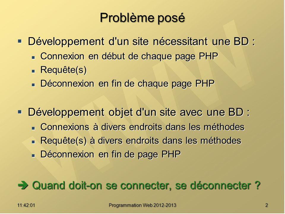 211:43:39 Programmation Web 2012-2013 Problème posé Développement d'un site nécessitant une BD : Développement d'un site nécessitant une BD : Connexio