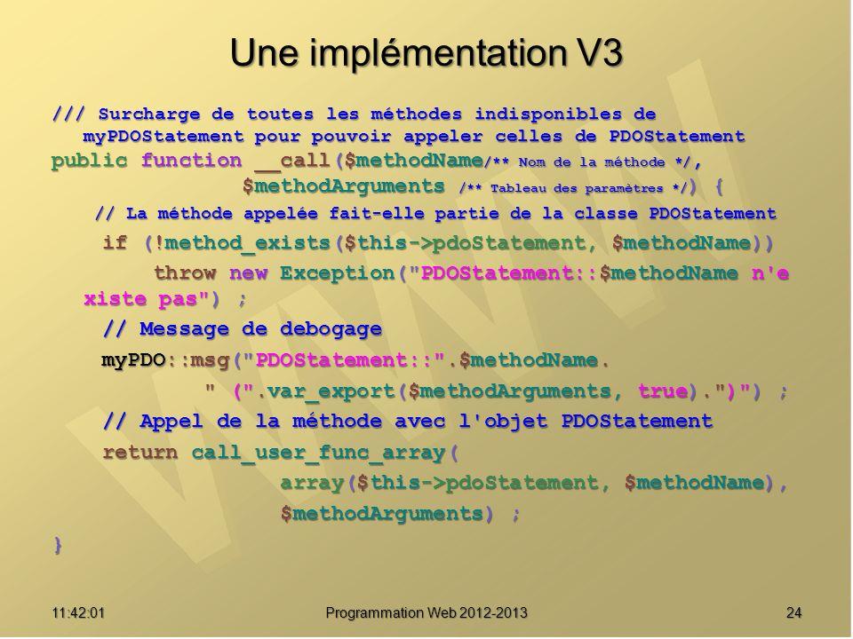 2411:43:39 Programmation Web 2012-2013 Une implémentation V3 /// Surcharge de toutes les méthodes indisponibles de myPDOStatement pour pouvoir appeler