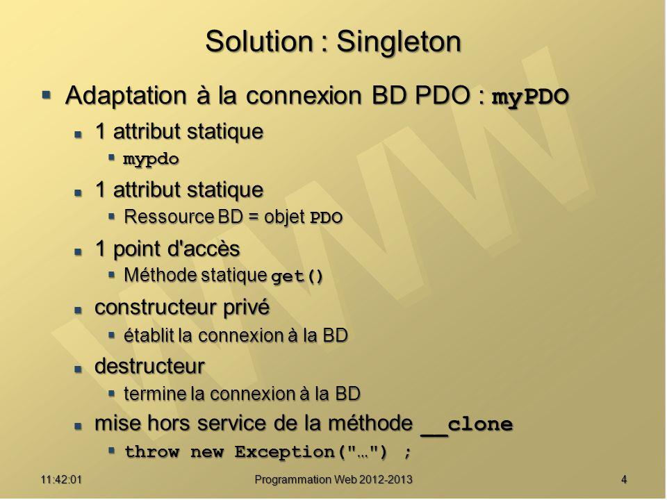 1511:43:39 Programmation Web 2012-2013 Une implémentation v2 /// Surcharge de toutes les méthodes indisponibles de myPDO pour pouvoir appeler celles de PDO public function __call($methodName /** Nom de la méthode */, $methodArguments /** Tableau des paramètres */ ) { $methodArguments /** Tableau des paramètres */ ) { // La méthode appelée fait-elle partie de la classe PDO // La méthode appelée fait-elle partie de la classe PDO if (!method_exists($this->pdo, $methodName)) if (!method_exists($this->pdo, $methodName)) throw new Exception( PDO::$methodName n exis te pas ) ; throw new Exception( PDO::$methodName n exis te pas ) ; // Message de debogage // Message de debogage self::msg( PDO::$methodName ( .implode($methodAr guments, , ). ) ) ; self::msg( PDO::$methodName ( .implode($methodAr guments, , ). ) ) ; // Appel de la méthode avec l objet PDO // Appel de la méthode avec l objet PDO $result = call_user_func_array( $result = call_user_func_array( array($this->pdo, $methodName), $methodArguments) ; return $result ; return $result ;}