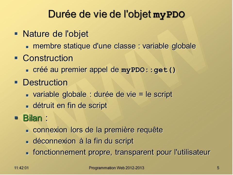 511:43:39 Programmation Web 2012-2013 Durée de vie de l'objet myPDO Nature de l'objet Nature de l'objet membre statique d'une classe : variable global