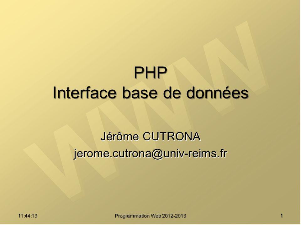 Jérôme CUTRONA jerome.cutrona@univ-reims.fr 11:45:50 Programmation Web 2012-2013 1 PHP Interface base de données