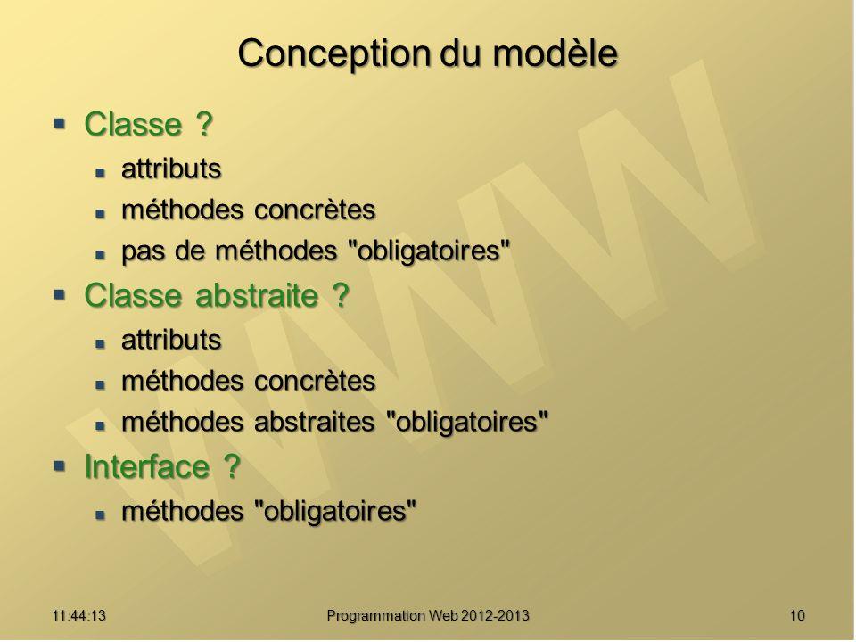 1011:45:50 Programmation Web 2012-2013 Conception du modèle Classe ? Classe ? attributs attributs méthodes concrètes méthodes concrètes pas de méthode
