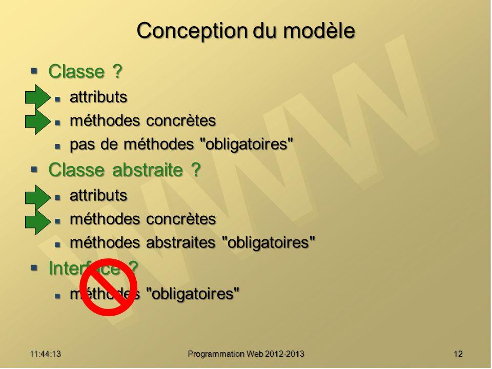 1211:45:50 Programmation Web 2012-2013 Conception du modèle Classe ? Classe ? attributs attributs méthodes concrètes méthodes concrètes pas de méthode