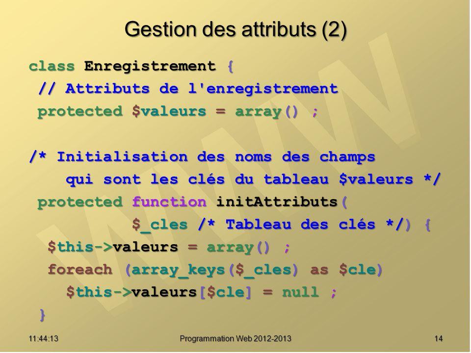 1411:45:50 Programmation Web 2012-2013 Gestion des attributs (2) class Enregistrement { // Attributs de l'enregistrement // Attributs de l'enregistrem