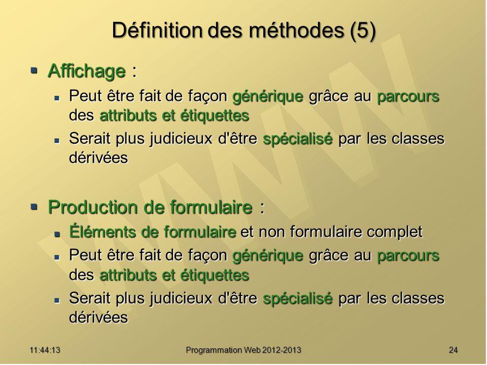 2411:45:51 Programmation Web 2012-2013 Définition des méthodes (5) Affichage : Affichage : Peut être fait de façon générique grâce au parcours des att