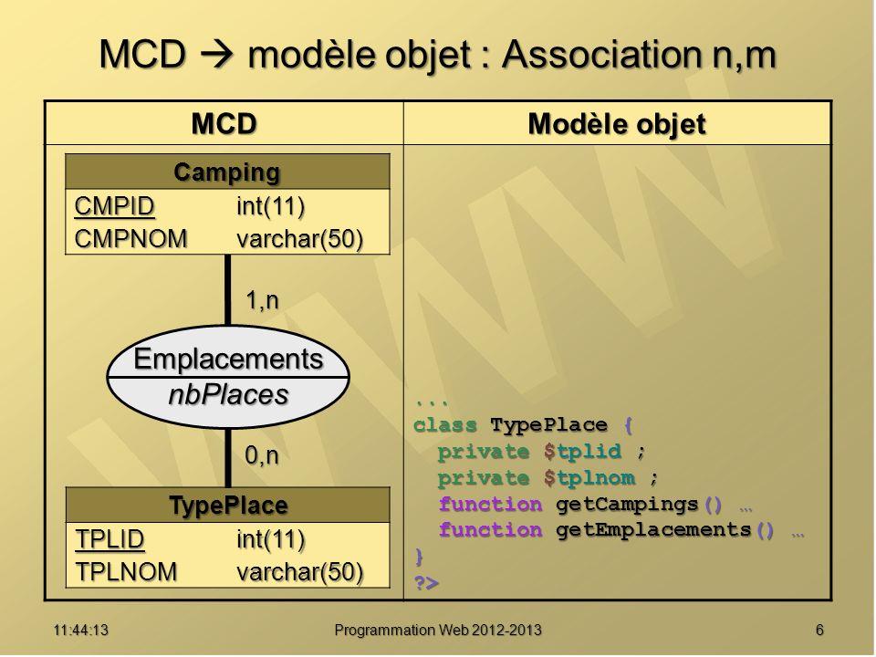 1711:45:50 Programmation Web 2012-2013 Gestion des attributs (4) /* Surcharge de __set pour donner accès aux valeurs sous la forme $e->un_champs=val */ public function __set( public function __set( $_cle /** Nom du champs */, $_cle /** Nom du champs */, $_val /** Nouvelle valeur */) { $_val /** Nouvelle valeur */) { if (array_key_exists($_cle, if (array_key_exists($_cle, $this->valeurs)) $this->valeurs)) return $this->valeurs[$_cle] = $_val ; return $this->valeurs[$_cle] = $_val ; throw new Exception( throw new Exception( Champs $_cle inconnu dans Champs $_cle inconnu dans .get_class($this). ) ;.get_class($this). ) ; }