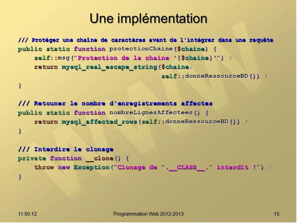 1511:51:49Programmation Web 2012-2013 Une implémentation /// Protéger une chaîne de caractères avant de l'intégrer dans une requête public static func