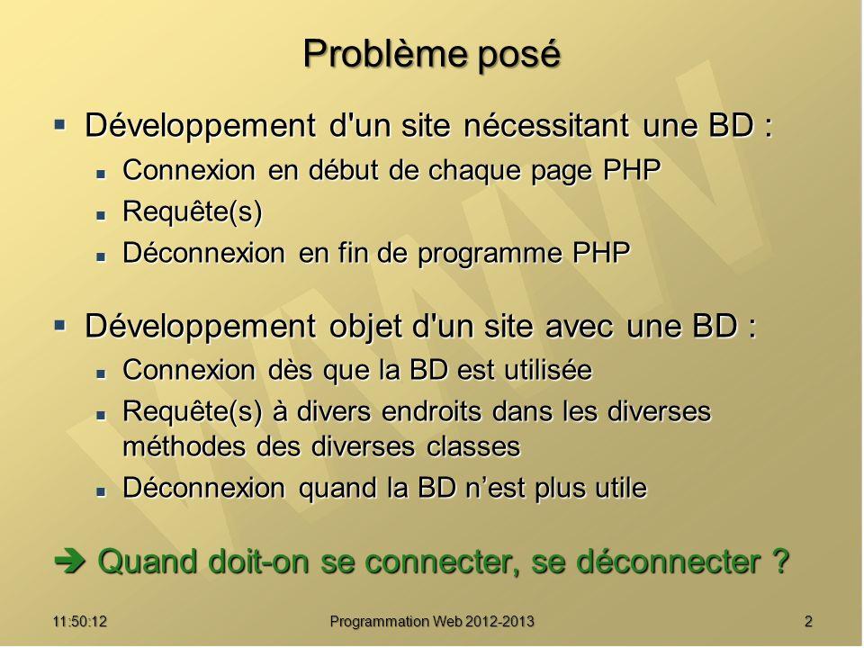 1311:51:49Programmation Web 2012-2013 Une implémentation /// Fixer les paramètres de connexion public static function parametres($host, $user, $passwd, $base, $traces) { $base, $traces) { self::debogage($traces) ; self::debogage($traces) ; self::msg( self::msg( Demande de positionnement des paramètres de connexion... ) ; Demande de positionnement des paramètres de connexion... ) ; self::$_host = $host ; self::$_host = $host ; self::$_user = $user ; self::$_user = $user ; self::$_passwd = $passwd ; self::$_passwd = $passwd ; self::$_base = $base ; self::$_base = $base ; self::msg( Positionnement des paramètres de connexion terminé ) ; self::msg( Positionnement des paramètres de connexion terminé ) ;}
