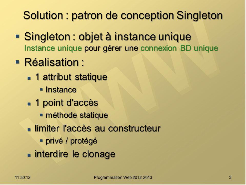 1411:51:49Programmation Web 2012-2013 Une implémentation /// Effectuer une requête et retourner le résultat public static function requete($req) { self::msg( Demande d exécution de la requête:\n$req ) ; self::msg( Demande d exécution de la requête:\n$req ) ; $res = @mysql_query($req, $res = @mysql_query($req, self::donneRessourceBD()) ; self::donneRessourceBD()) ; if ($res === false) { if ($res === false) { throw new Exception( Erreur pour la requête {$req} : throw new Exception( Erreur pour la requête {$req} : .mysql_error(self::donneRessourceBD())) ;.mysql_error(self::donneRessourceBD())) ; } self::msg( Requête effectuée ) ; self::msg( Requête effectuée ) ; return $res ; return $res ;}