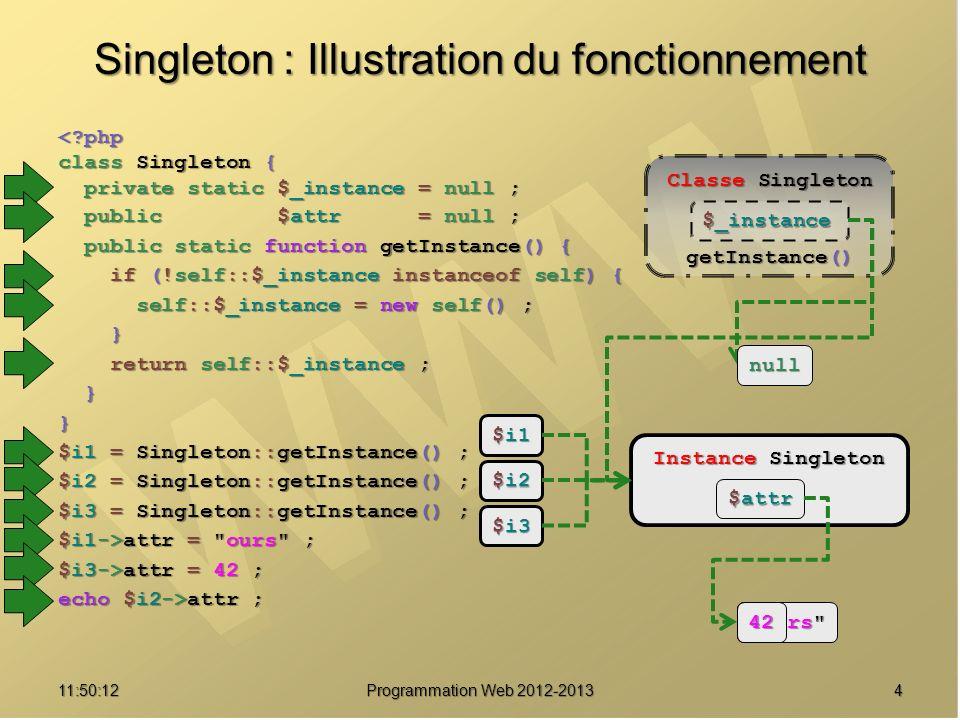 1511:51:49Programmation Web 2012-2013 Une implémentation /// Protéger une chaîne de caractères avant de l intégrer dans une requête public static function protectionChaine($chaine) { self::msg( Protection de la chaine {$chaine} ) ; self::msg( Protection de la chaine {$chaine} ) ; return mysql_real_escape_string($chaine, return mysql_real_escape_string($chaine, self::donneRessourceBD()) ; self::donneRessourceBD()) ;} /// Retouner le nombre d enregistrements affectes public static function nombreLignesAffectees() { return mysql_affected_rows(self::donneRessourceBD()) ; return mysql_affected_rows(self::donneRessourceBD()) ;} /// Interdire le clonage private function __clone() { throw new Exception( Clonage de .__CLASS__. interdit ! ) ; throw new Exception( Clonage de .__CLASS__. interdit ! ) ;}