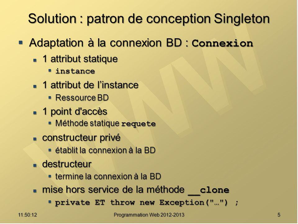 1611:51:49Programmation Web 2012-2013 Une implémentation /// Collecte de messages de contrôle static function msg($message) { if (self::$_traces) if (self::$_traces) Traceur::trace($message) ; Traceur::trace($message) ;} /// Mise en marche ou arrêt des messages de contrôle static function debogage($etat) { self::$_traces = (bool) $etat ; self::$_traces = (bool) $etat ;}}