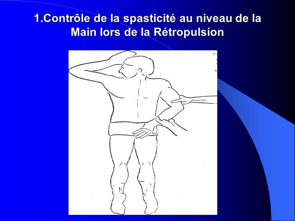 1.Contrôle de la spasticité au niveau de la Main lors de la Rétropulsion