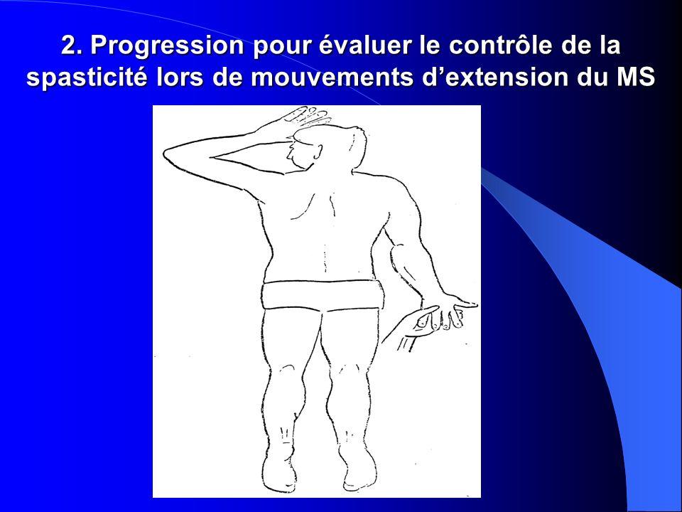 2. Progression pour évaluer le contrôle de la spasticité lors de mouvements dextension du MS