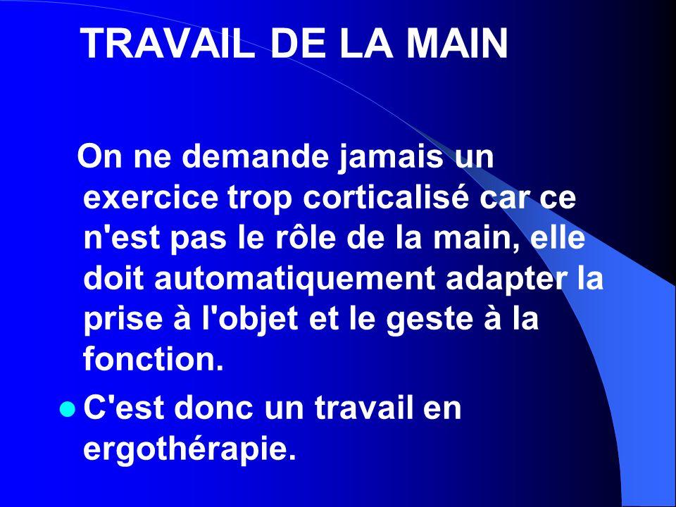 TRAVAIL DE LA MAIN On ne demande jamais un exercice trop corticalisé car ce n'est pas le rôle de la main, elle doit automatiquement adapter la prise à