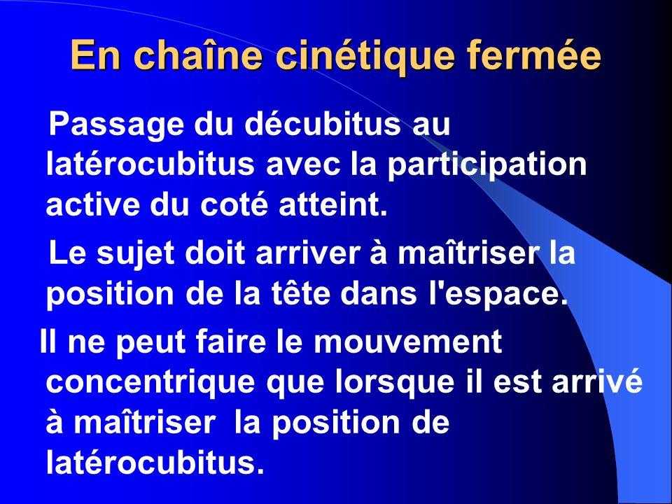 En chaîne cinétique fermée Passage du décubitus au latérocubitus avec la participation active du coté atteint. Le sujet doit arriver à maîtriser la po