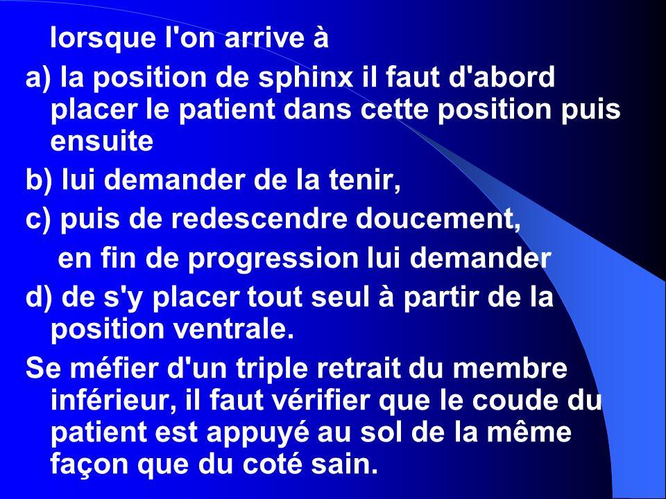 Ex. Transfert Droite et Gauche. MK pousse, le patiente se tient sur le MS