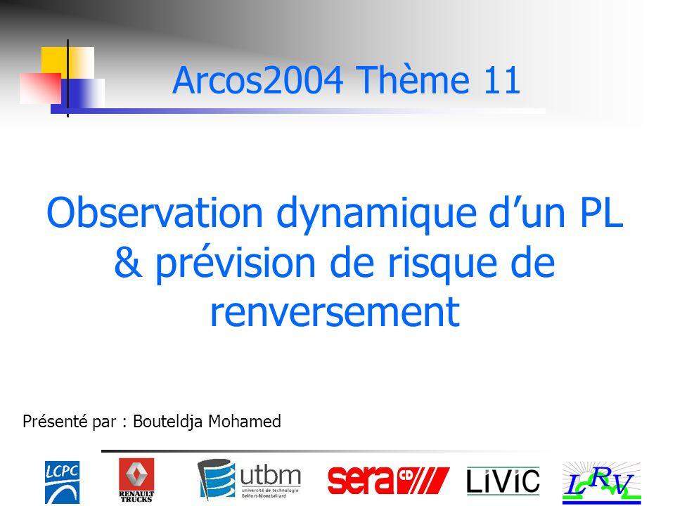 Observation dynamique dun PL & prévision de risque de renversement Présenté par : Bouteldja Mohamed Arcos2004 Thème 11