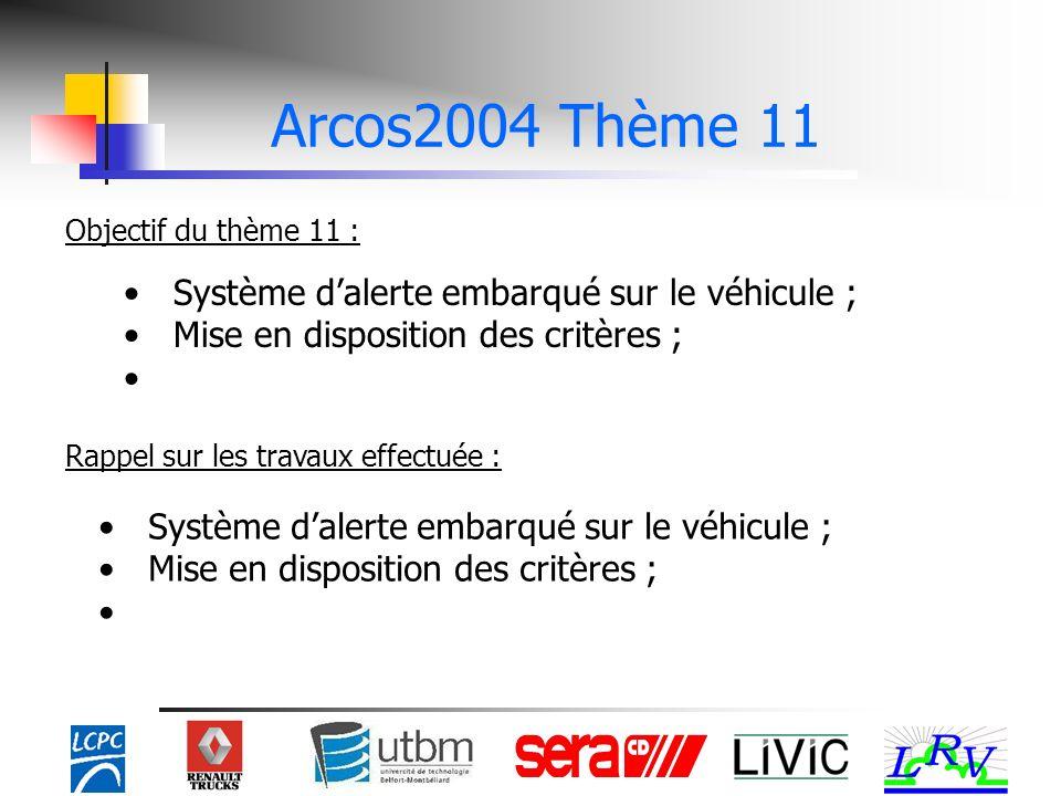 Objectif du thème 11 : Rappel sur les travaux effectuée : Système dalerte embarqué sur le véhicule ; Mise en disposition des critères ; Système dalerte embarqué sur le véhicule ; Mise en disposition des critères ;