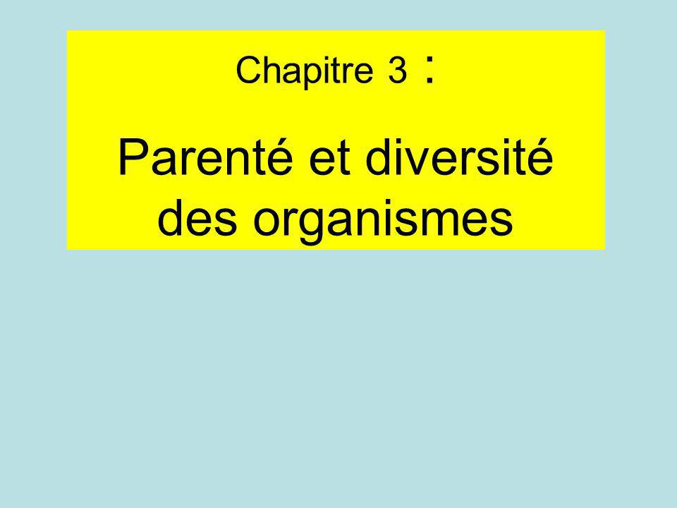 Chapitre 3 : Parenté et diversité des organismes
