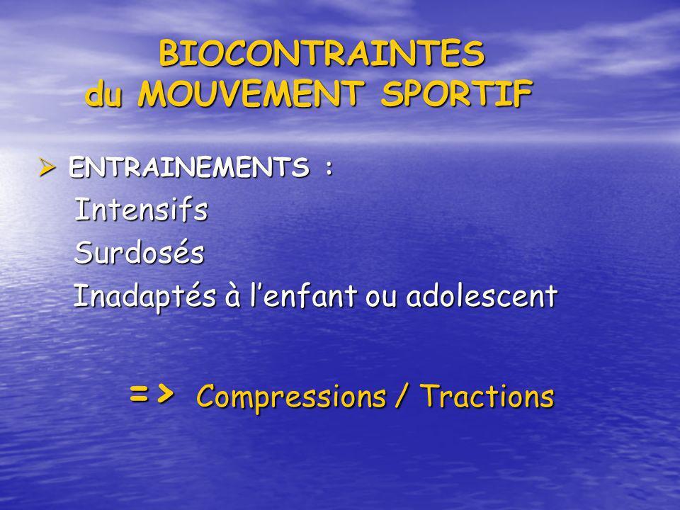 BIOCONTRAINTES du MOUVEMENT SPORTIF BIOCONTRAINTES du MOUVEMENT SPORTIF ENTRAINEMENTS : ENTRAINEMENTS : Intensifs Intensifs Surdosés Surdosés Inadapté