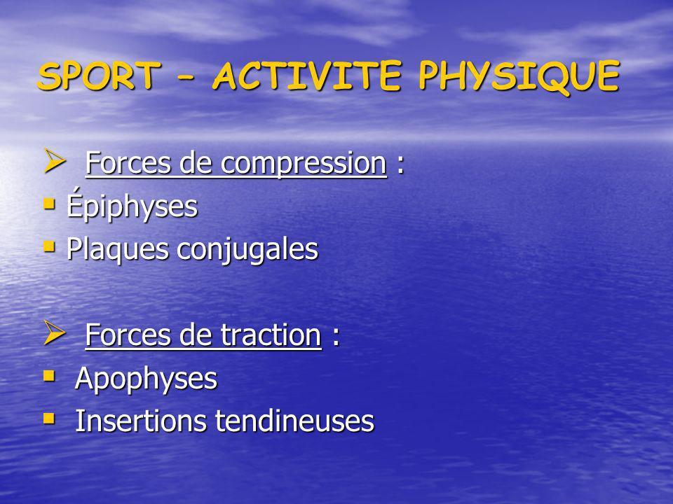 SPORT – ACTIVITE PHYSIQUE Forces de compression : Forces de compression : Épiphyses Épiphyses Plaques conjugales Plaques conjugales Forces de traction