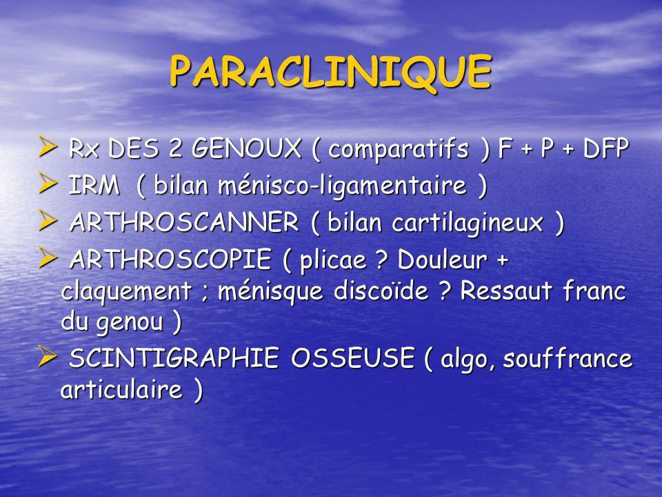 PARACLINIQUE Rx DES 2 GENOUX ( comparatifs ) F + P + DFP Rx DES 2 GENOUX ( comparatifs ) F + P + DFP IRM ( bilan ménisco-ligamentaire ) IRM ( bilan mé
