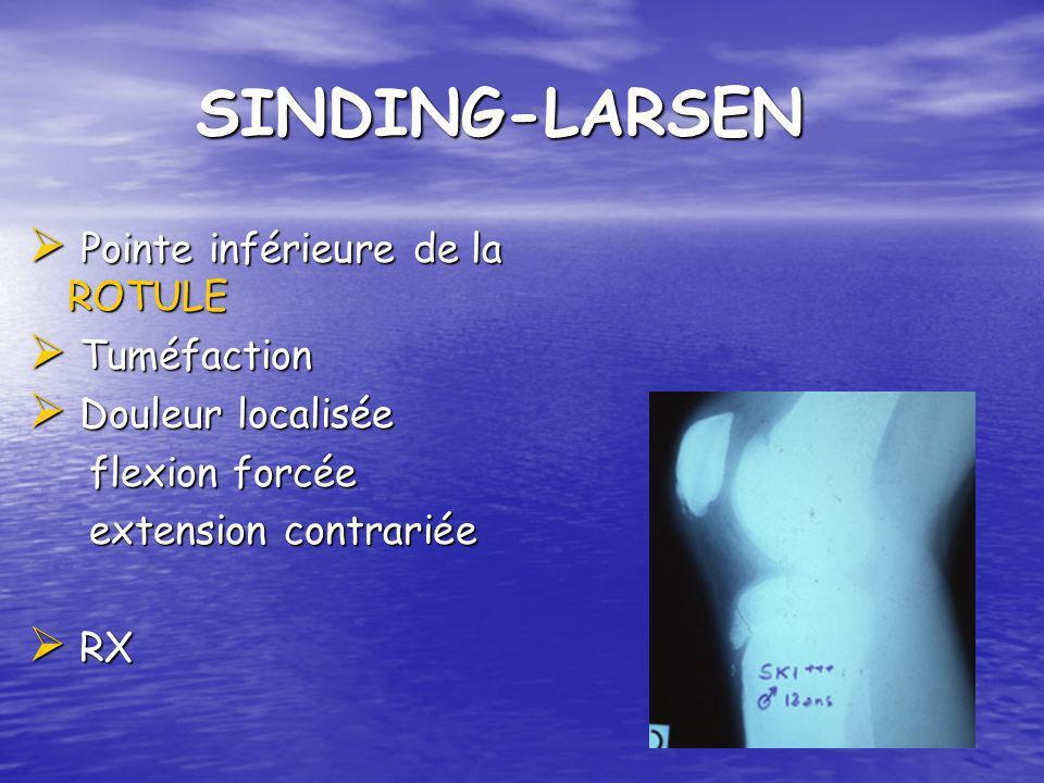 SINDING-LARSEN SINDING-LARSEN Pointe inférieure de la ROTULE Pointe inférieure de la ROTULE Tuméfaction Tuméfaction Douleur localisée Douleur localisé