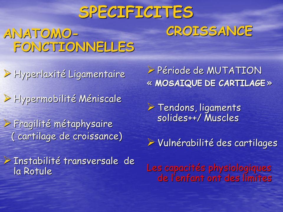 SPECIFICITES SPECIFICITES ANATOMO- FONCTIONNELLES Hyperlaxité Ligamentaire Hyperlaxité Ligamentaire Hypermobilité Méniscale Hypermobilité Méniscale Fr