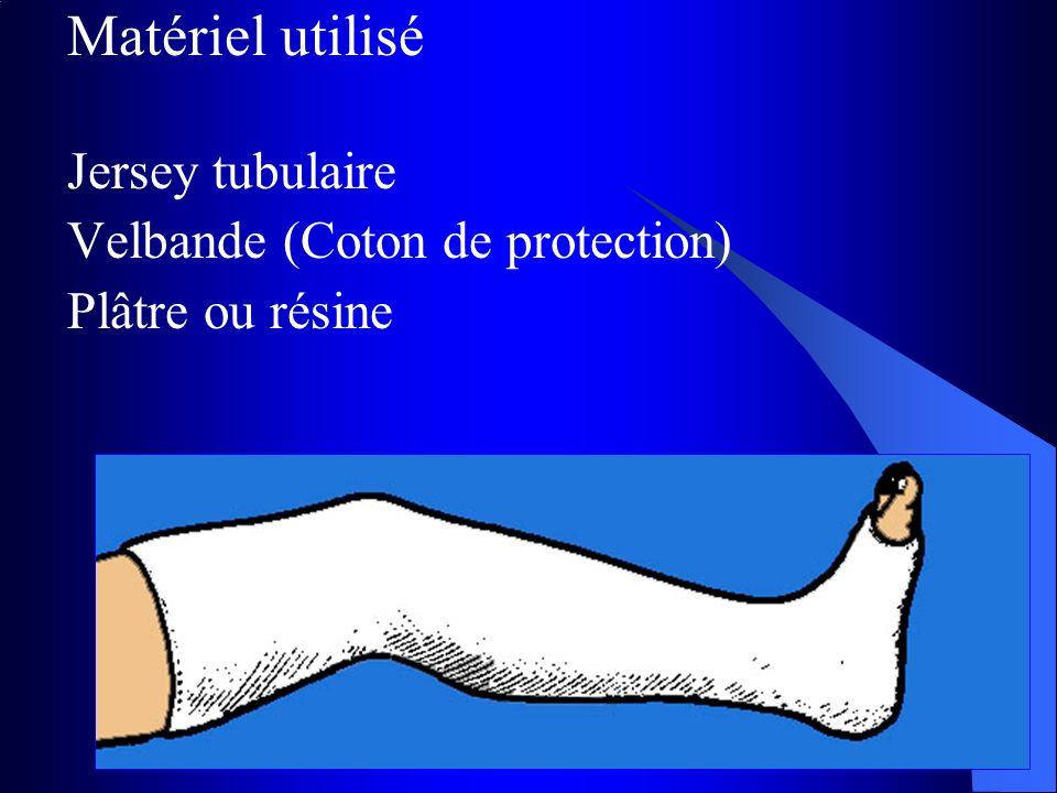 Matériel utilisé Jersey tubulaire Velbande (Coton de protection) Plâtre ou résine
