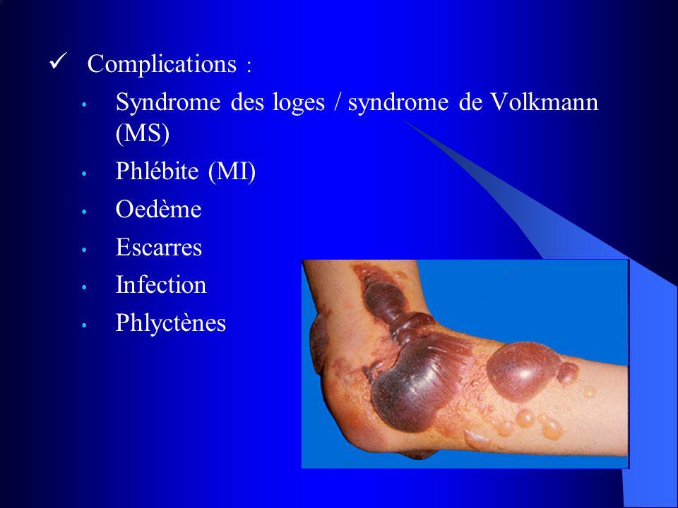 Complications : Syndrome des loges / syndrome de Volkmann (MS) Phlébite (MI) Oedème Escarres Infection Phlyctènes