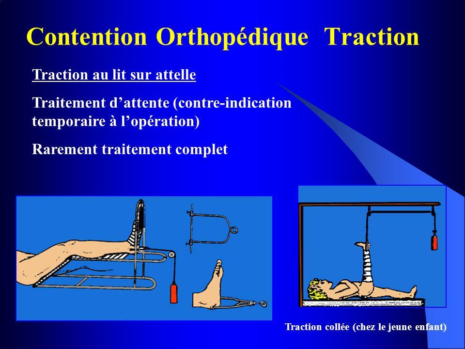 Contention Orthopédique Traction Traction au lit sur attelle Traitement dattente (contre-indication temporaire à lopération) Rarement traitement compl
