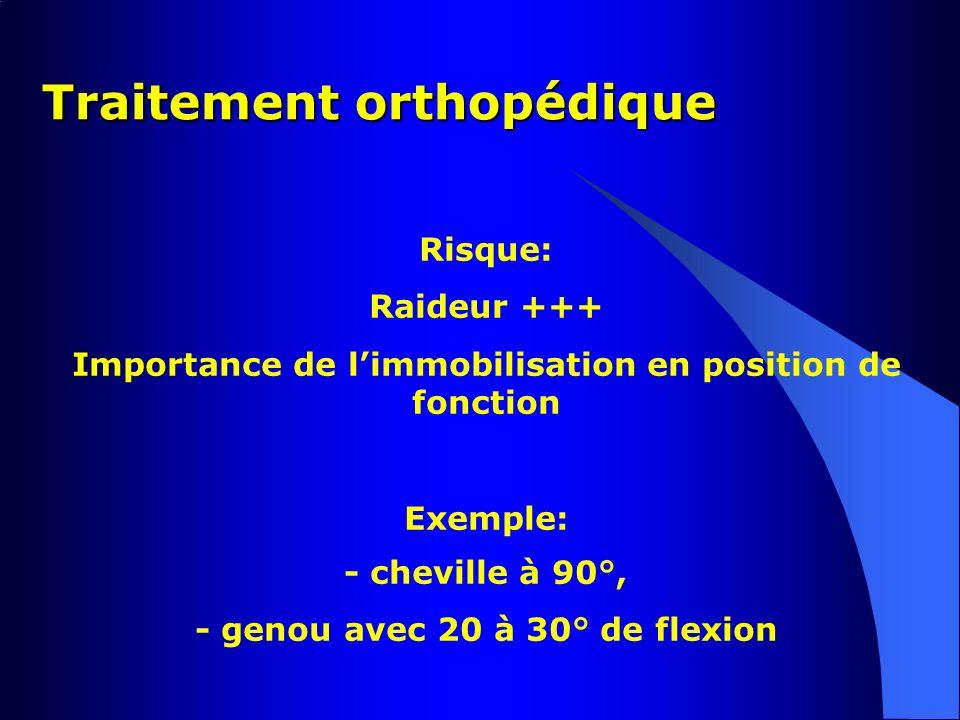 Traitement orthopédique Risque: Raideur +++ Importance de limmobilisation en position de fonction Exemple: - cheville à 90°, - genou avec 20 à 30° de
