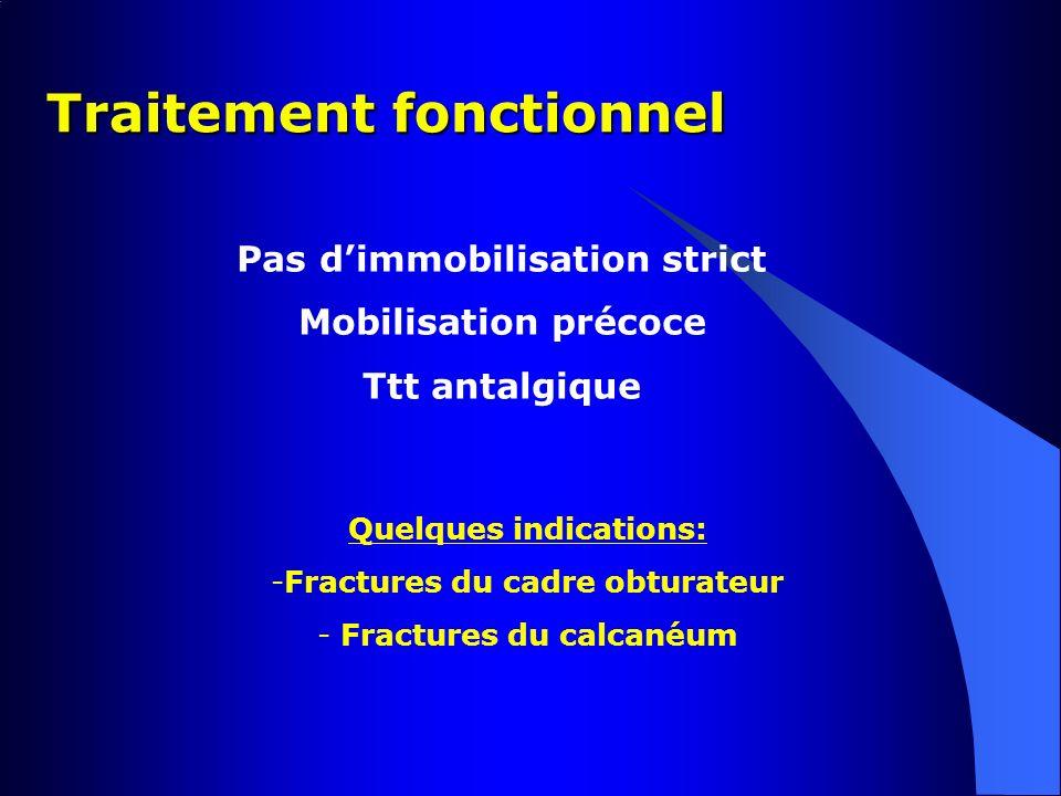 Traitement fonctionnel Pas dimmobilisation strict Mobilisation précoce Ttt antalgique Quelques indications: -Fractures du cadre obturateur - Fractures